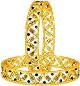 The Jewelbox Floral Leaf Maroon American Diamond Cz 22K Gold Plated Bangle Pair For Women