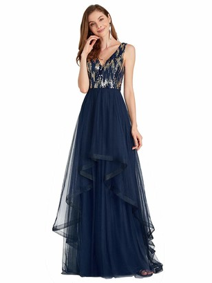 Ever Pretty Ever-Pretty Women's Sleeveless V Neck Elegant High-Low A Line Long Formal Dresses Navy Blue 18UK