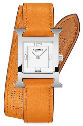 Hermes Heure H 21MM Stainless Steel & Leather Double-Wrap Strap Watch