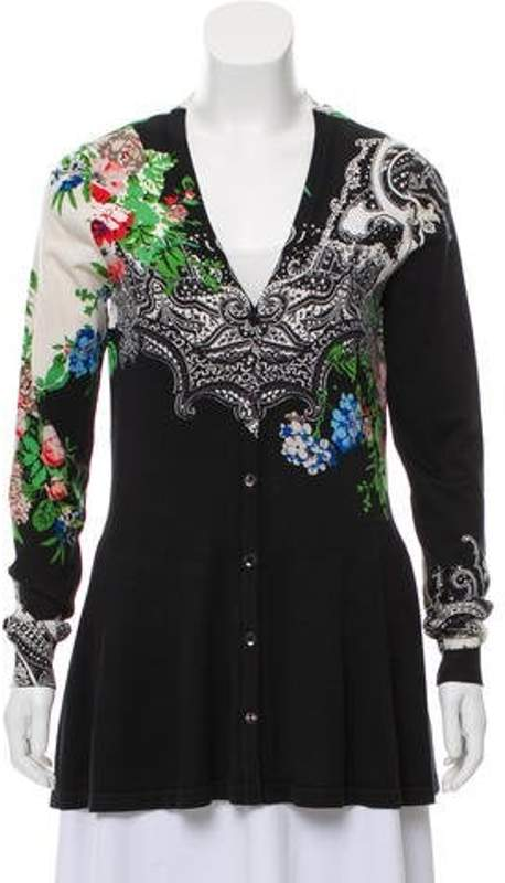Etro Silk-Blend Printed Cardigan Black Silk-Blend Printed Cardigan