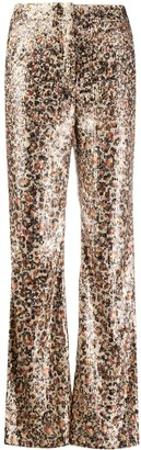 Dorothee Schumacher Shiny Leopard Print Flared Trousers