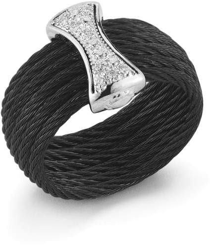 Alor 18K White Gold and Stainless Steel 6 Row 1.6mm Black Cable 0.12ct Diamond Ring Size 7