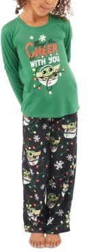 Munki Munki Matching Kids Holiday Baby Yoda Family Pajama Set