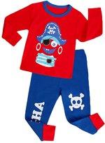 YOUJIA Boys Long Sleeve Cotton Sleepwear Pajama T-shirt and Pants Set
