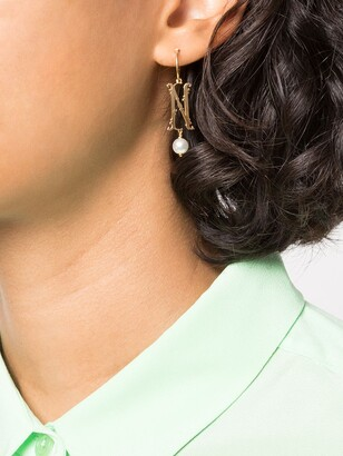 Simone Rocha N initial single hoop earring