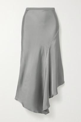 Anine Bing Bailey Asymmetric Silk-charmeuse Midi Skirt - Silver