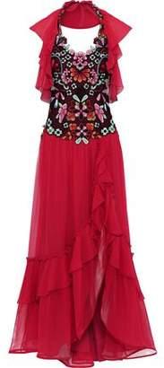 Alberta Ferretti Embellished Tulle-paneled Ruffled Silk-chiffon Gown