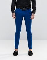 Asos Super Skinny Tuxedo Suit Pants In Blue