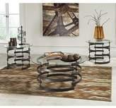 Ashley Furniture Ashley Kaymine 3 Piece Round Glass Coffee Table Set in Black