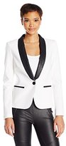 James Jeans Women's Tuxedo Jacket with Vegan Leather Lapels