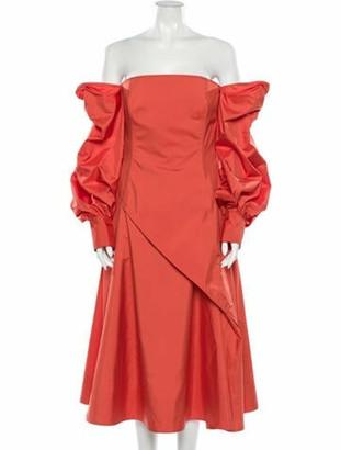 ADEAM Off-The-Shoulder Midi Length Dress Orange