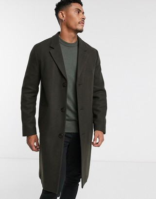 Topman faux wool overcoat in khaki