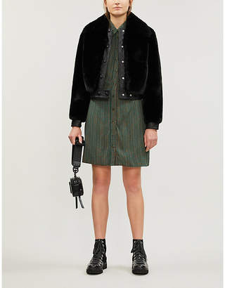 Sandro Quilted leather and faux-fur jacket