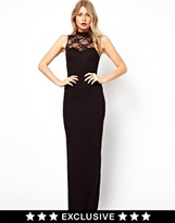 Love Maxi Dress In Lace With High Neck - Black