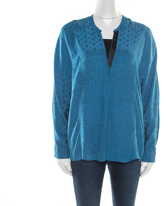 Zadig And Voltaire Zadig & Voltaire Prusse Blue Jacquard Motif Silk Tine Jac Blouse S