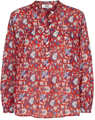 MOLIIN - Christina Blouse Sun Tomato - cotton | red | Flower | M . - Red/Red
