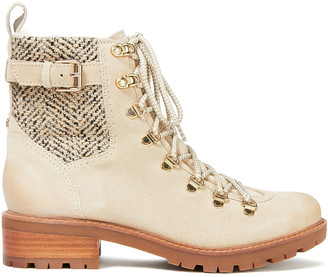 Sam Edelman Tenlee Herringbone Woven And Suede Ankle Boots