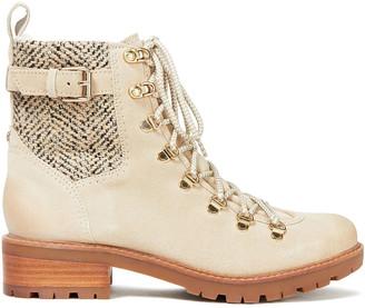 Sam Edelman Tenlee Herringbone Woven And Suede Combat Boots