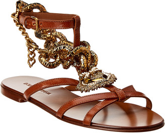 Dolce & Gabbana Devotion Ankle Strap Leather Sandal