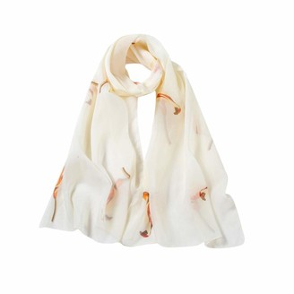 Deloito Women Scarves & Wraps Deloito Fashion Women Ladies Soft Long Scarf Printing Birds Pattern Chiffon Scarves Beach Silk-Feeling Sunscreen Shawl Wrap (Beige)