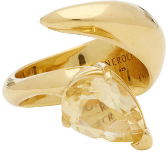 Alan Crocetti SSENSE Exclusive Gold and Yellow Citrine Alien Ring