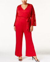 American Rag Trendy Plus Size Lace-Sleeve Jumpsuit, Only at Macy's