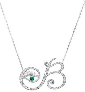 Tabayer Eye 18K White Gold, Emerald & Diamond Beautiful Pendant Necklace