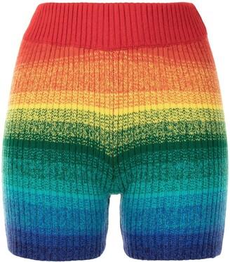 The Elder Statesman Cashmere Striped-Knit Shorts