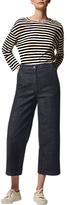 Toast Stripe Linen Easy T-Shirt, Oatmeal/Blue-Black
