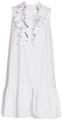 Alexander McQueen Lace Front Ruffled Shift Dress