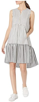 Calvin Klein Cotton Striped High-Low Dress (Cream/Black) Women's Dress