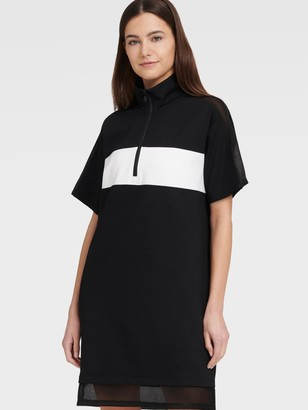 DKNY Women's Short Sleeve Half Zip Dress With Mesh Panels - Black - Size S
