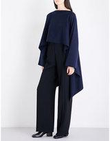 Jil Sander Boat-neck waffle-knit stretch-wool cape