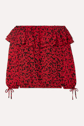 MICHAEL Michael Kors Off-the-shoulder Ruffled Printed Fil Coupé Chiffon Top - Red
