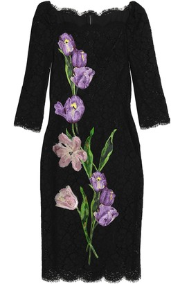 Dolce & Gabbana Floral-appliqued Scalloped Corded Lace Dress