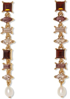Vince Camuto Multi Colored Shades of Pink Stone Linear Earrings with 8mm Freshwater Pearl Drop Off