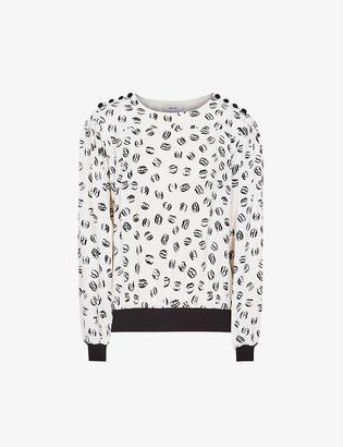Reiss Jolie lip-print woven blouse