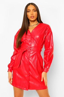 boohoo Tall Pu Belted Long Sleeve Mini Dress