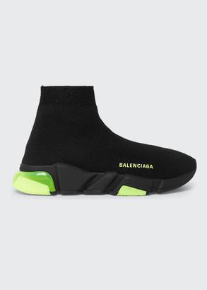 Balenciaga Men's Speed Clear-Sole Sock Sneaker w/ Neon