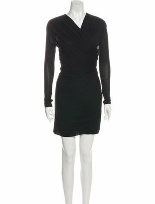 Derek Lam V-Neck Knee-Length Dress Black