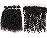Vinsteen Unprocessed 8A Brazilian Human Hair Extensions Kinky Curly 8inch-30inch brazilian virgin hair weft with 13X4 Lace Frontal Closure Natural Color can be dyed No Tangle (30 30 30 30+20)