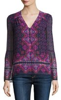 Nanette Lepore Long-Sleeve Floral Paisley Voile Top, Eggplant