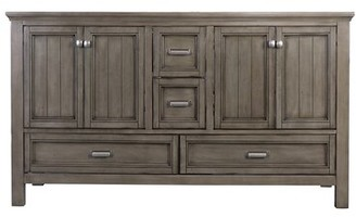 "Beachcrest Home Melgar 60"" Double Bathroom Vanity Base Only Finish: Distressed Gray"
