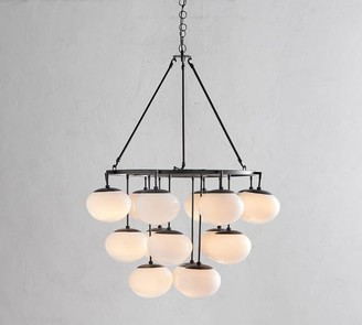Pottery Barn Callahan Round Milk Glass Chandelier