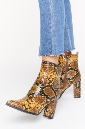 Nasty Gal Womens We're in Hiss Together Faux Leather Snake Boots - Yellow