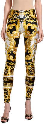 Versace Greek Key Print Studded Leggings
