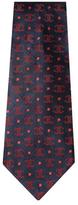 Chanel Vintage Navy Logo Silk Jacquard Tie