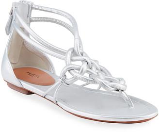 Alaia Flat Braided Tubular Sandals