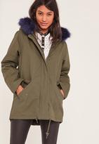 Missguided Khaki Faux Fur Lined Parka Coat
