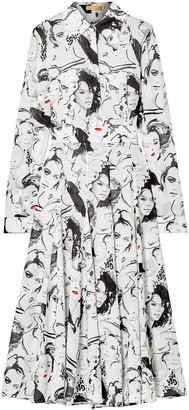 Michael Kors + David Downton Printed Silk Crepe De Chine Midi Dress
